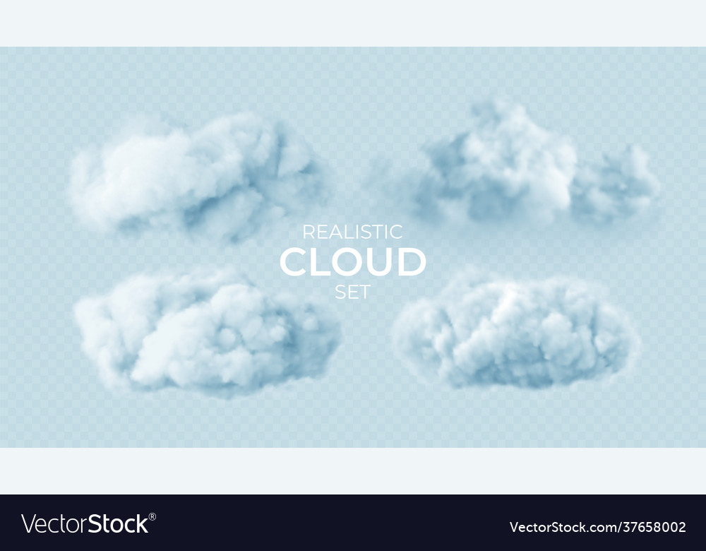 Realistic white fluffy clouds set isolated