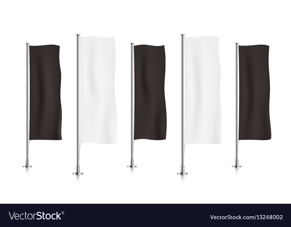 Row of black and white vertical banner flags