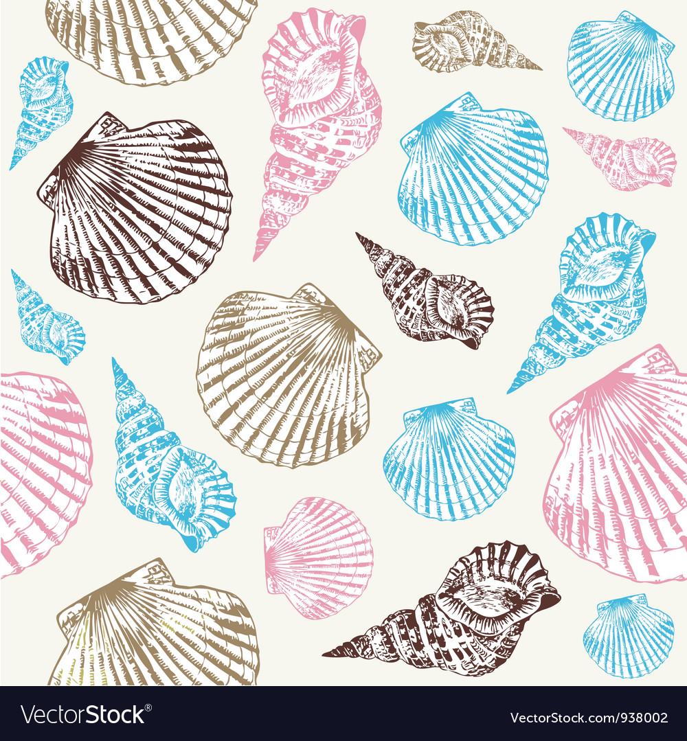 Seashells Pattern Background vector image