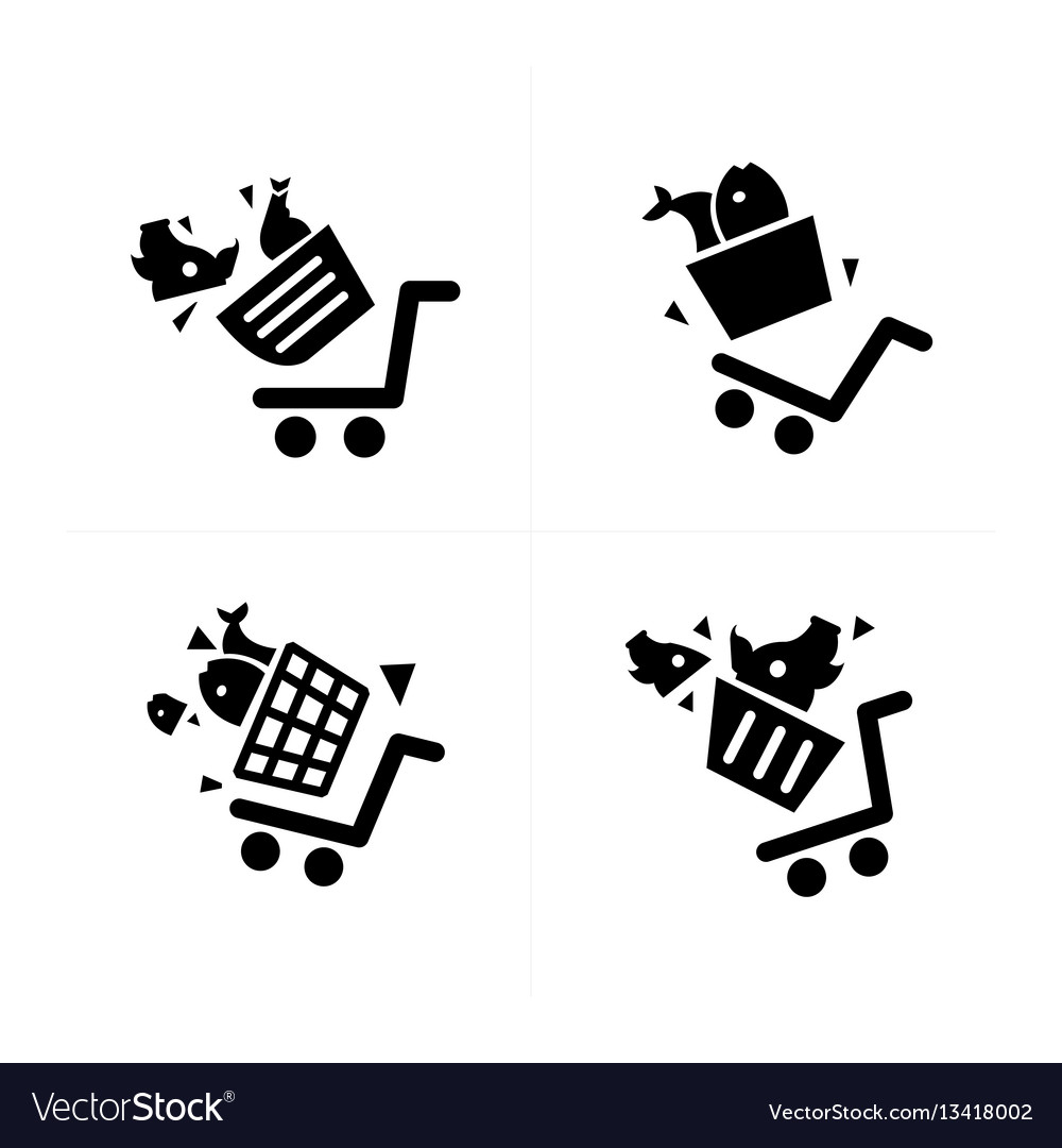 Shopping cart icons and damage vector image