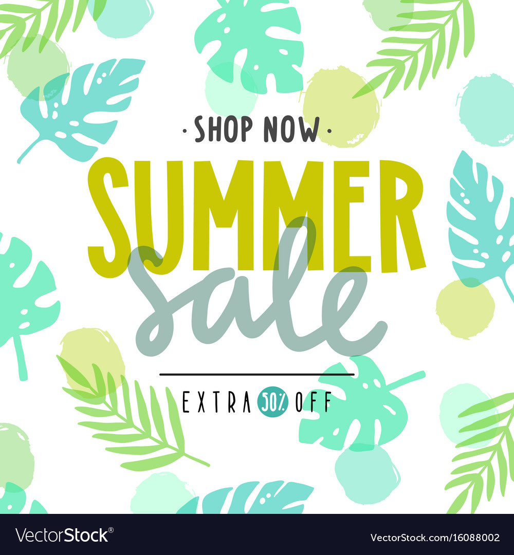Summer sale poster tropical leaves