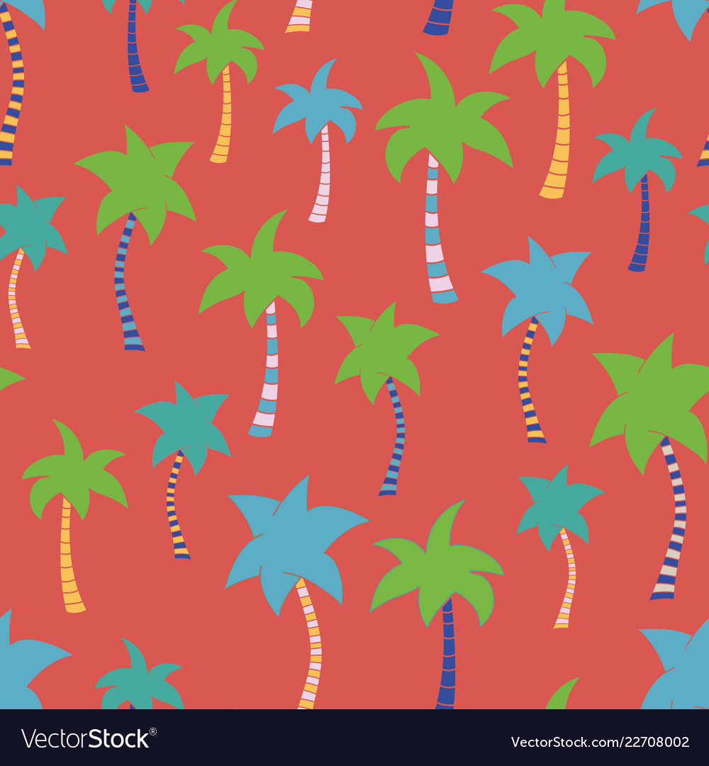 Tropical palm tree hand drawn red seamless pattern