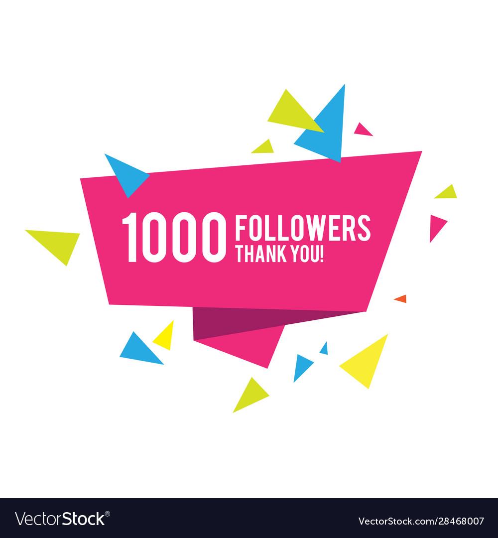 1000 followers thank you greeting card design