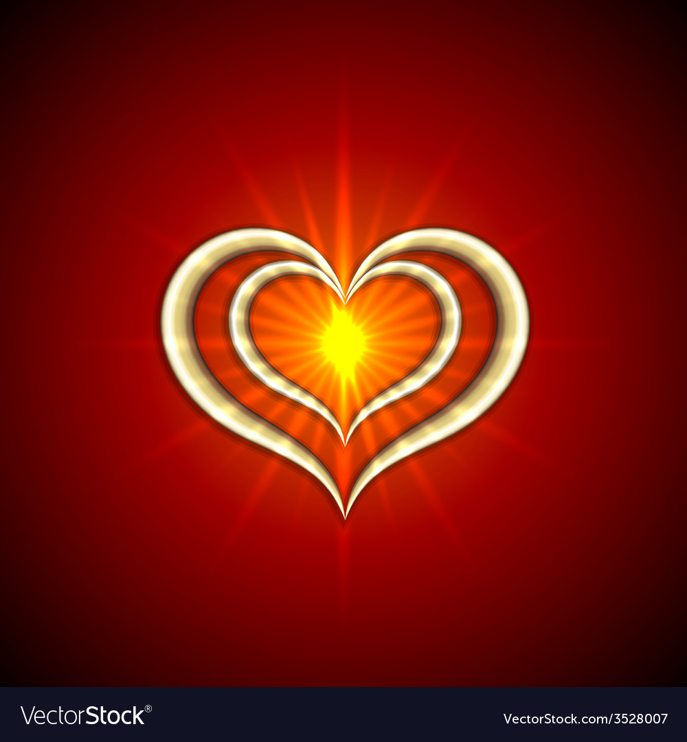 Abstract bright red background with golden hearts