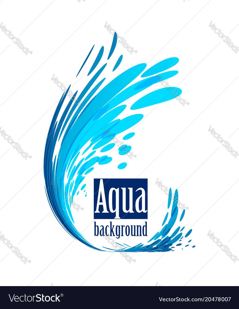 Aqua background splash water on white