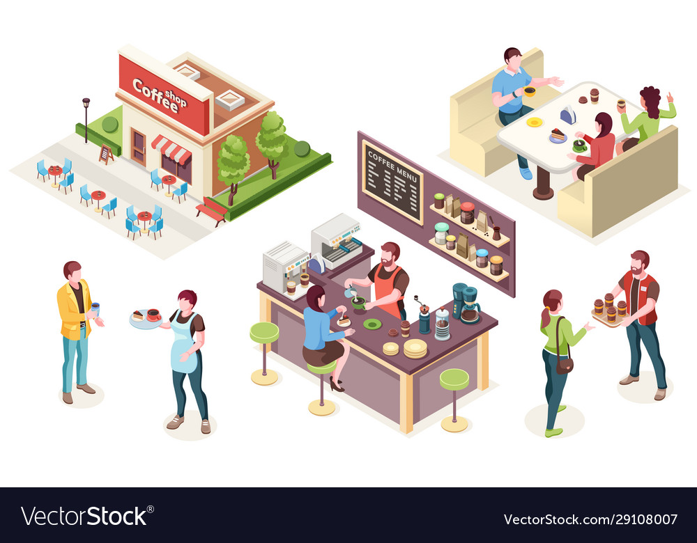 Cafe coffee shop isometric people and interior