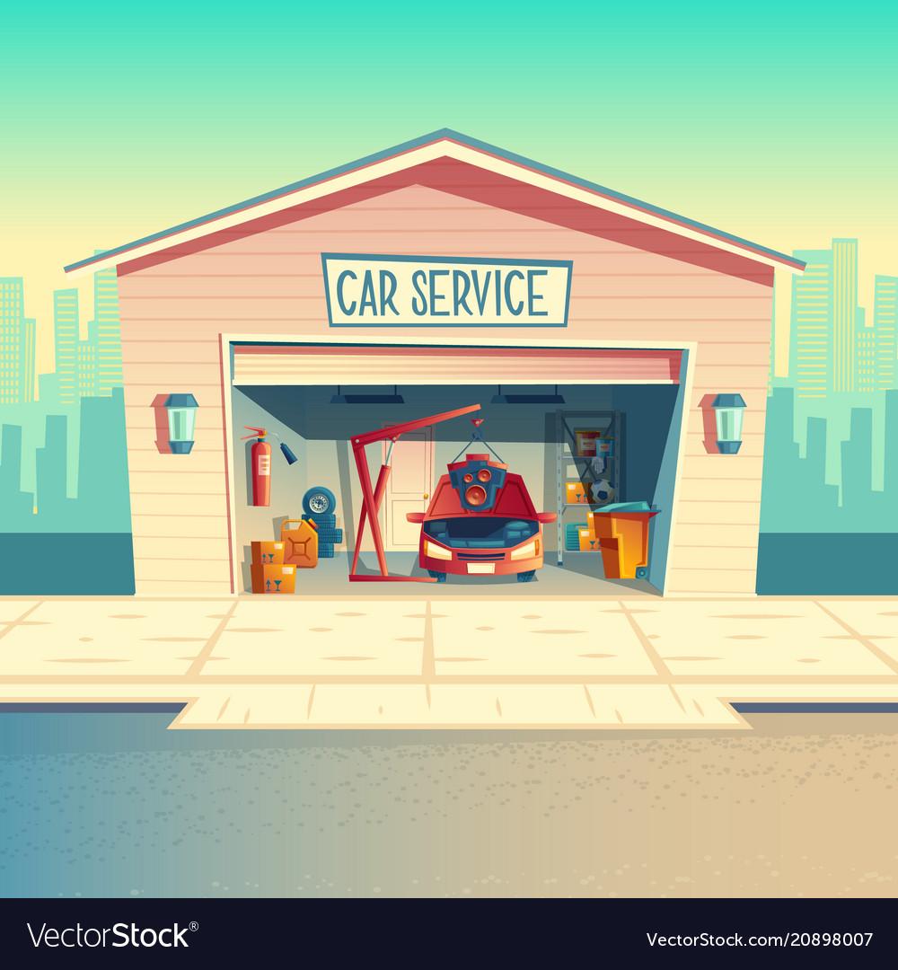 Cartoon mechanic workshop with car garage