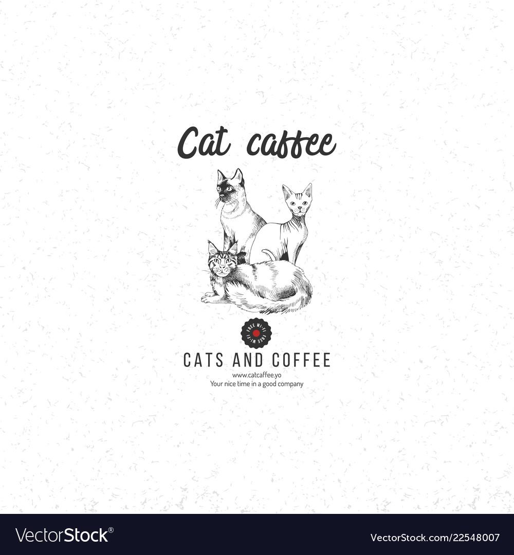Cat caffee logo template