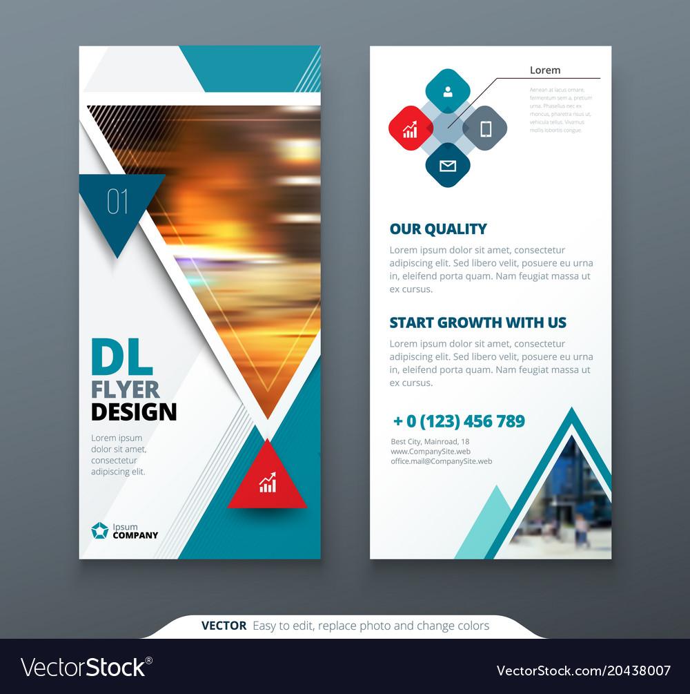 dl flyer design teal template dl flyer banner vector image