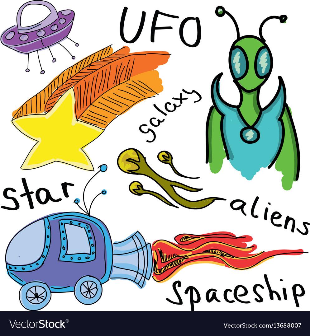 Drawn colored alien