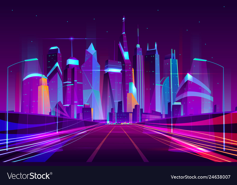 Future metropolis highway neon cartoon