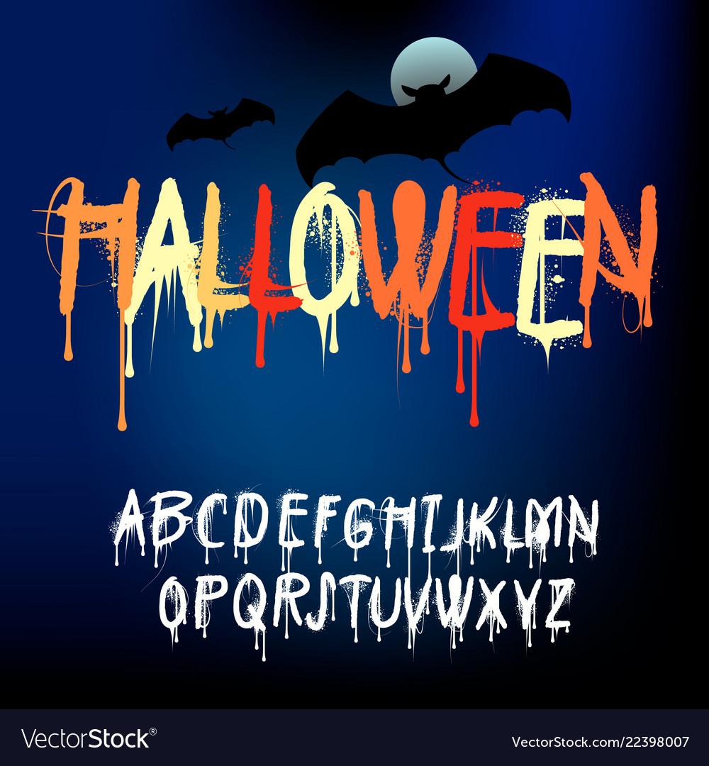 Halloween splash alphabet set of various paint