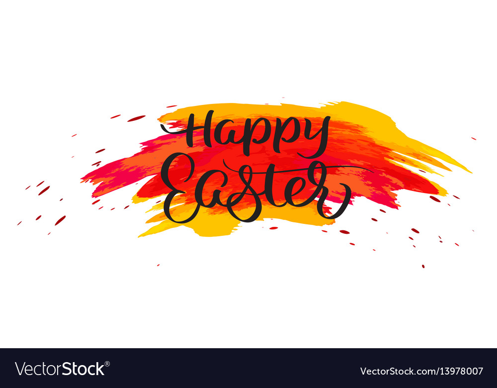 Happy easter text on watercolor red blots hand