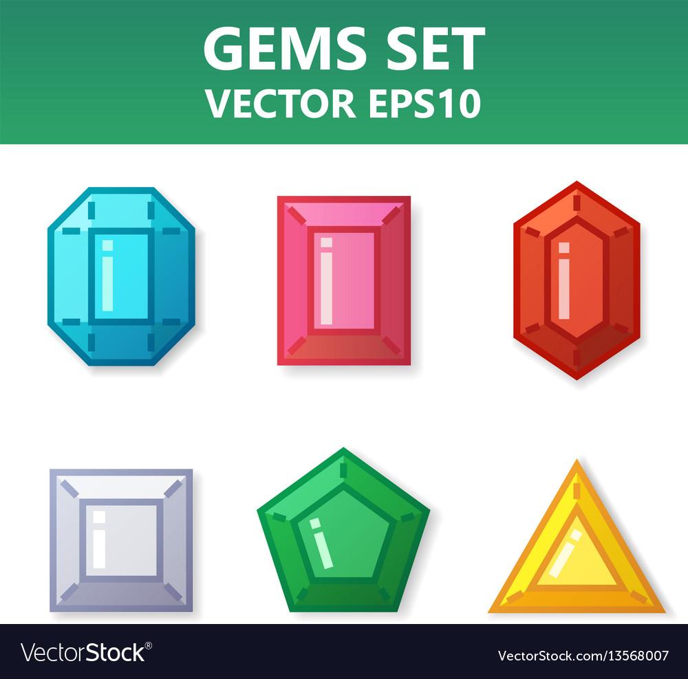 Modern set of colorful gems for website or mobile