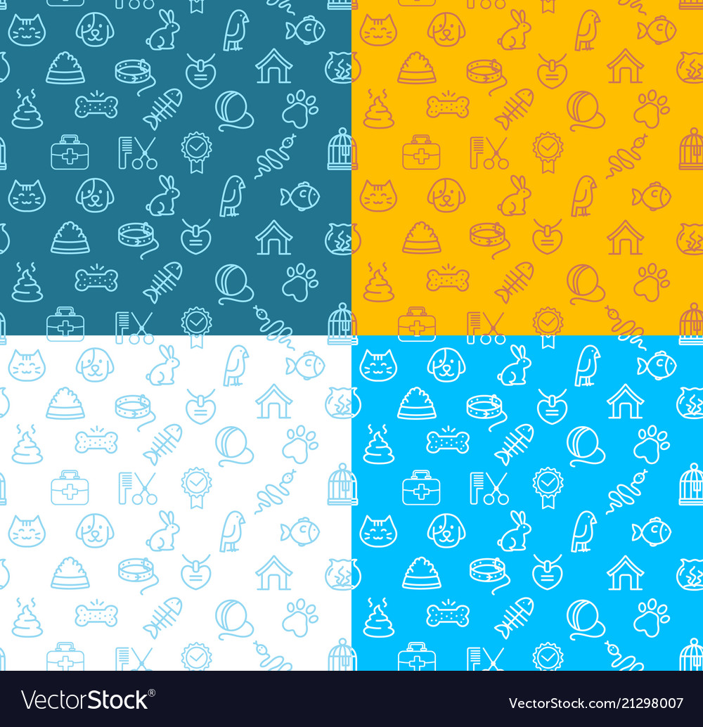 Pet shop signs seamless pattern background set
