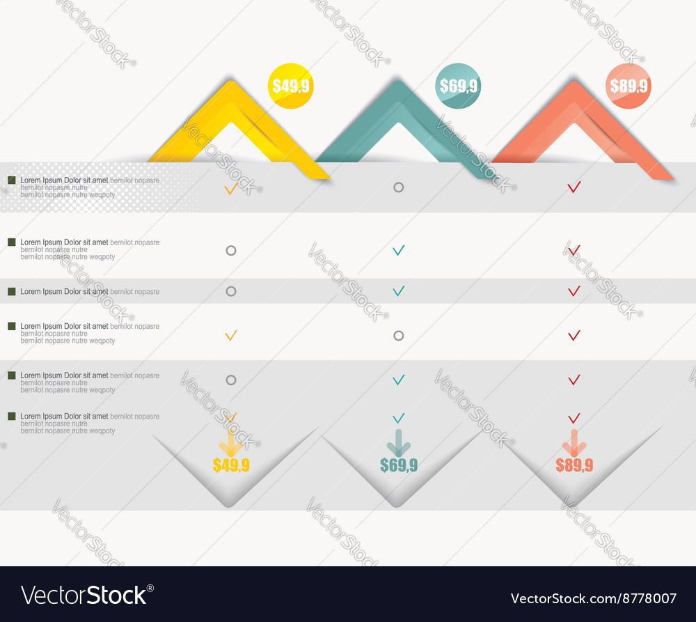 Price list widget with 3 payment plans for online vector image on  VectorStock