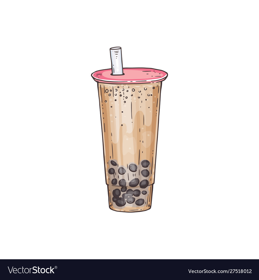 Bubble tea cocktail with tubule and tapiola sketch