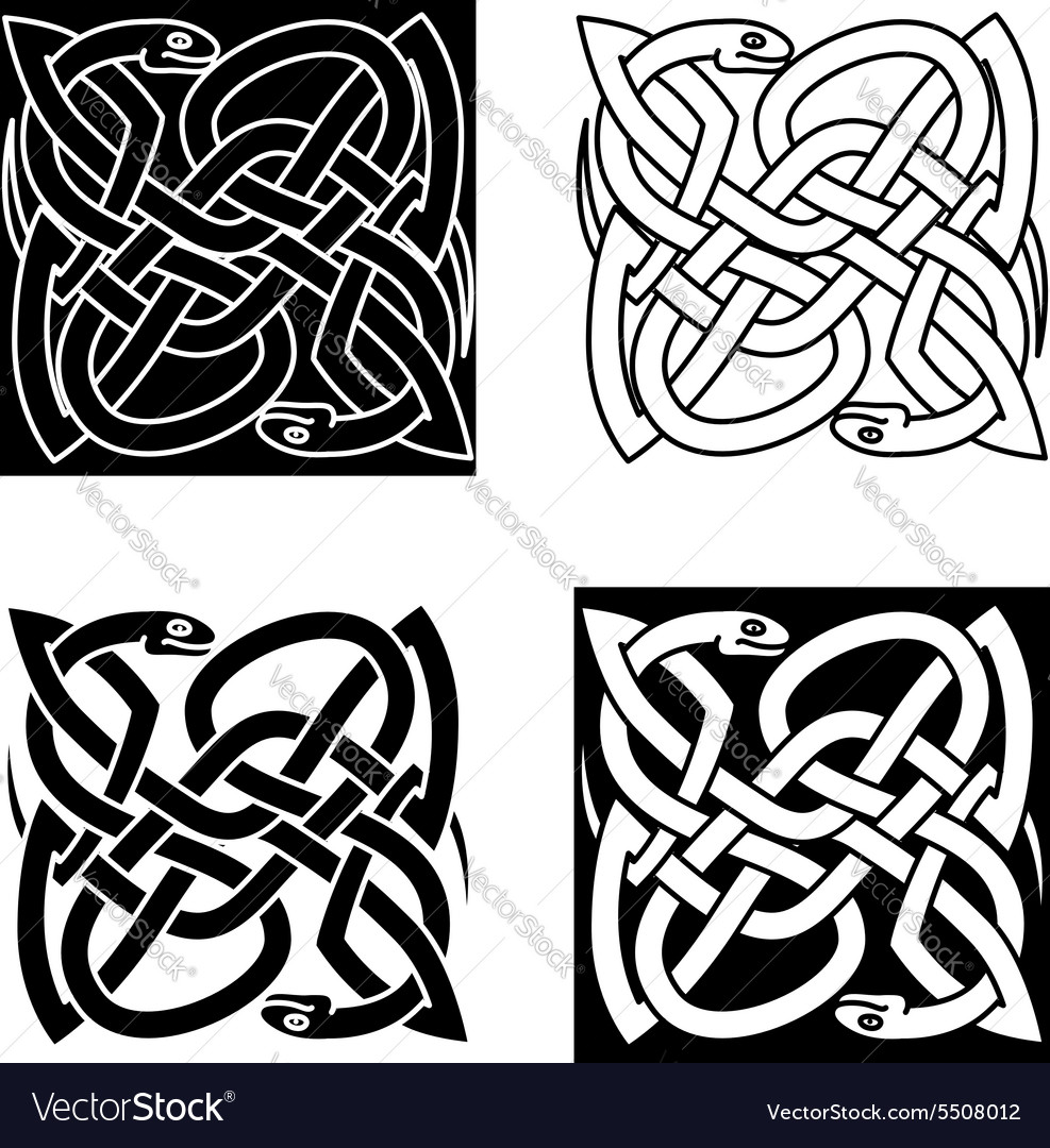 Celtic snakes arranged in traditional knot pattern