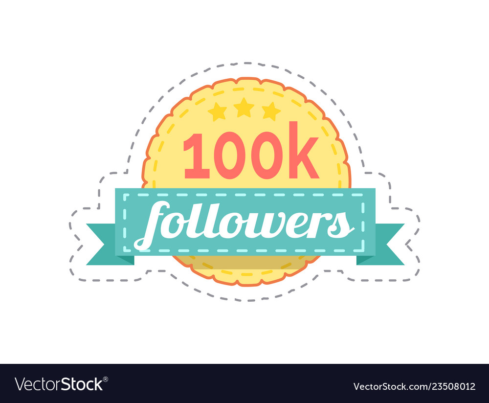 Followers 100k rounded banner with ribbon