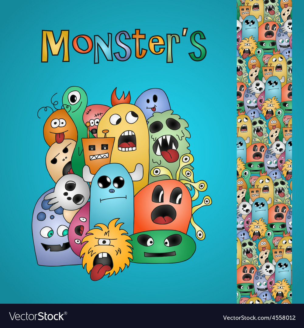 Funny cartoon monsters card and border