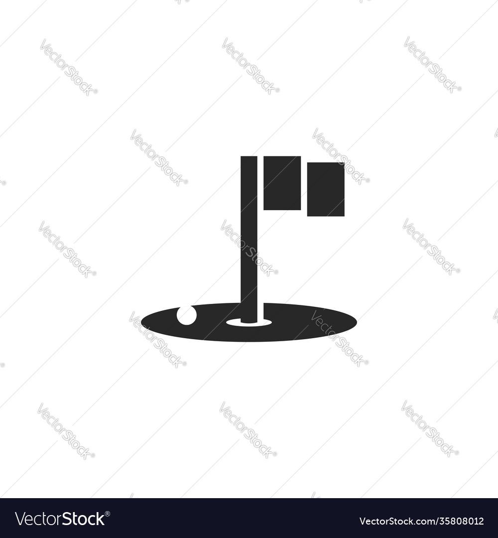 Golf logo black and white minimal design hole
