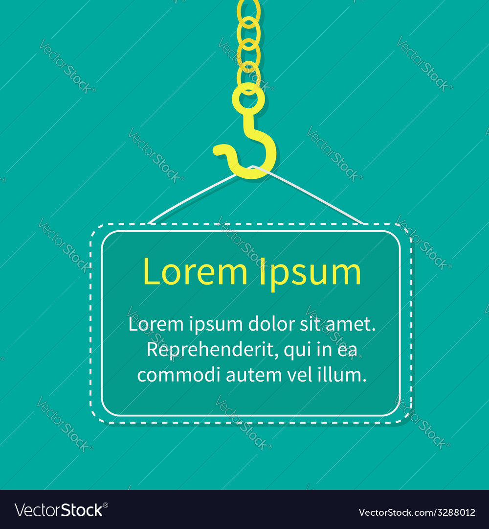 industrial hook on chain with blank poster board vector image