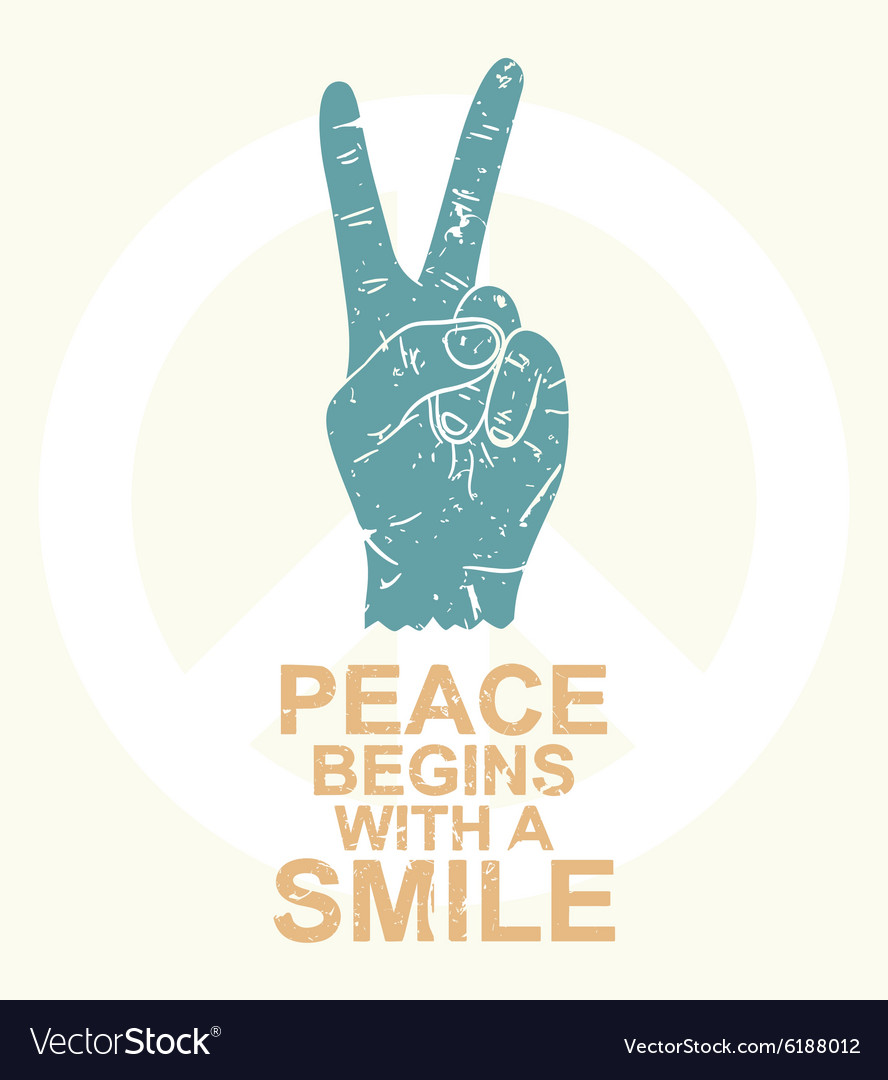 Peace Begins With A Smile Typography Design T Vector Image