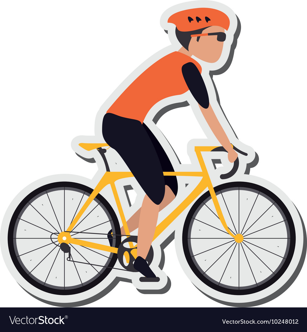 Person riding bike with helmet icon