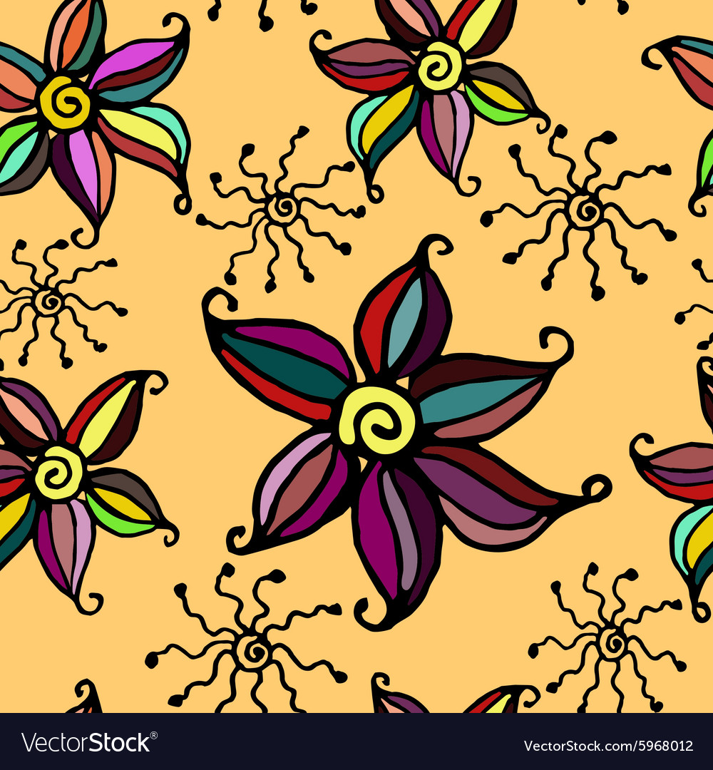 Seamless doodle flower background