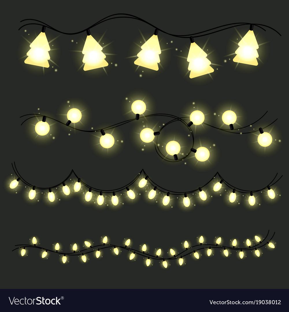 Christmas Lighted Garlands.Set Of Christmas Lamps Garlands Warm Light