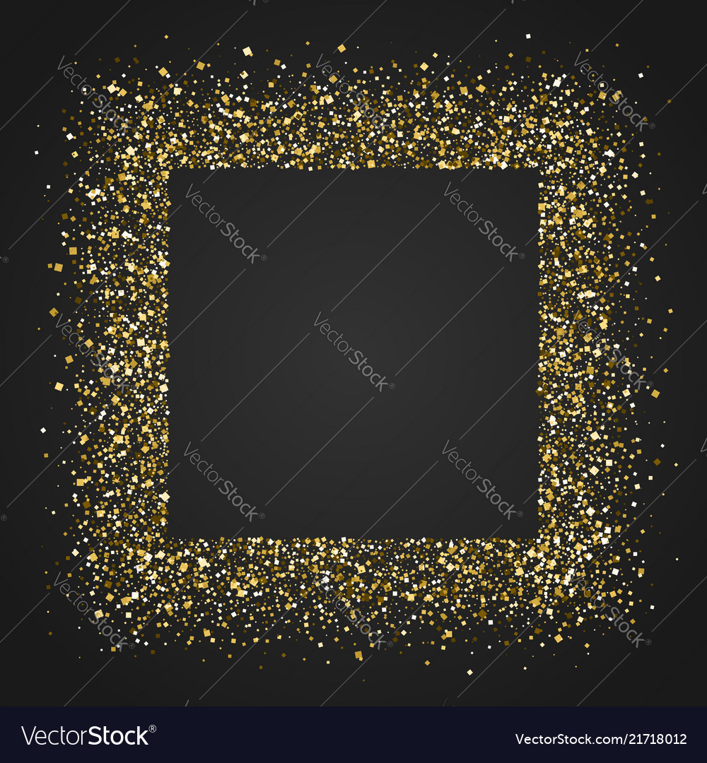 Square frame with glittering dust shining golden