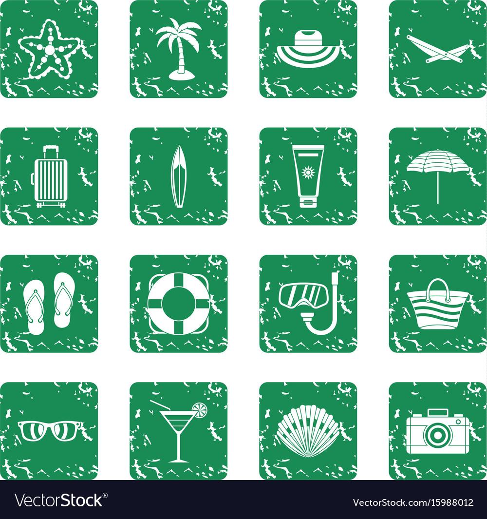 Summer rest icons set grunge vector image