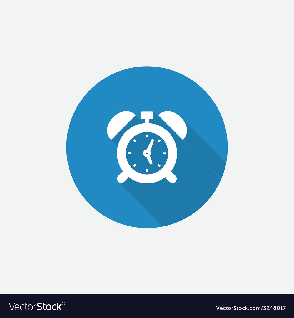 Alarm clock Flat Blue Simple Icon with long shadow