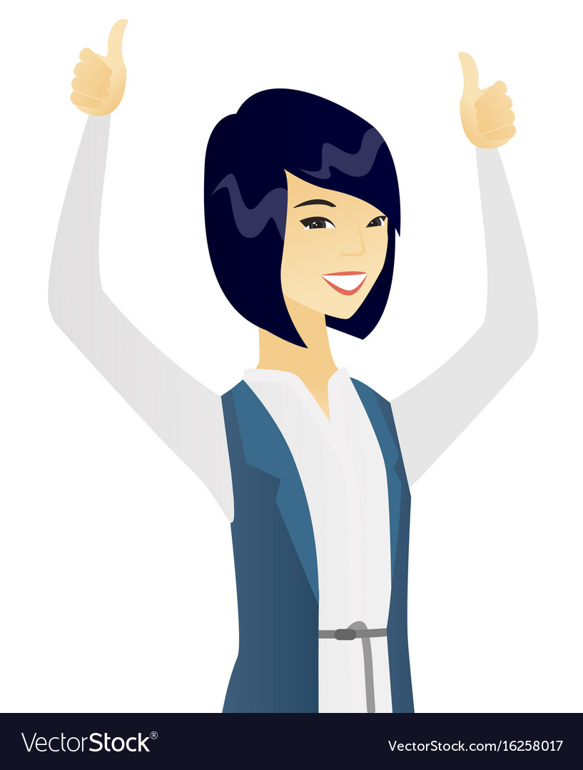Asian business woman standing with raised arms up