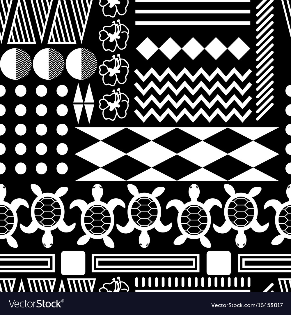 Black and white hawaiian culture ornament seamless