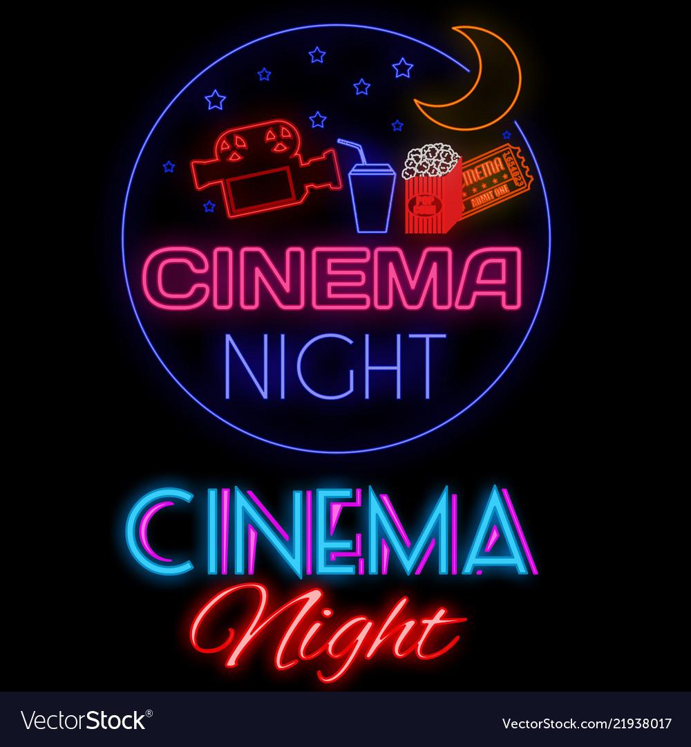 Cinema night glowing neon sign