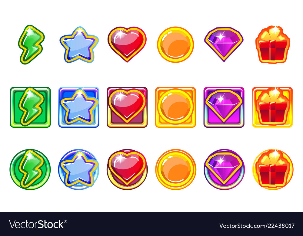 Colored game app icons set for ui