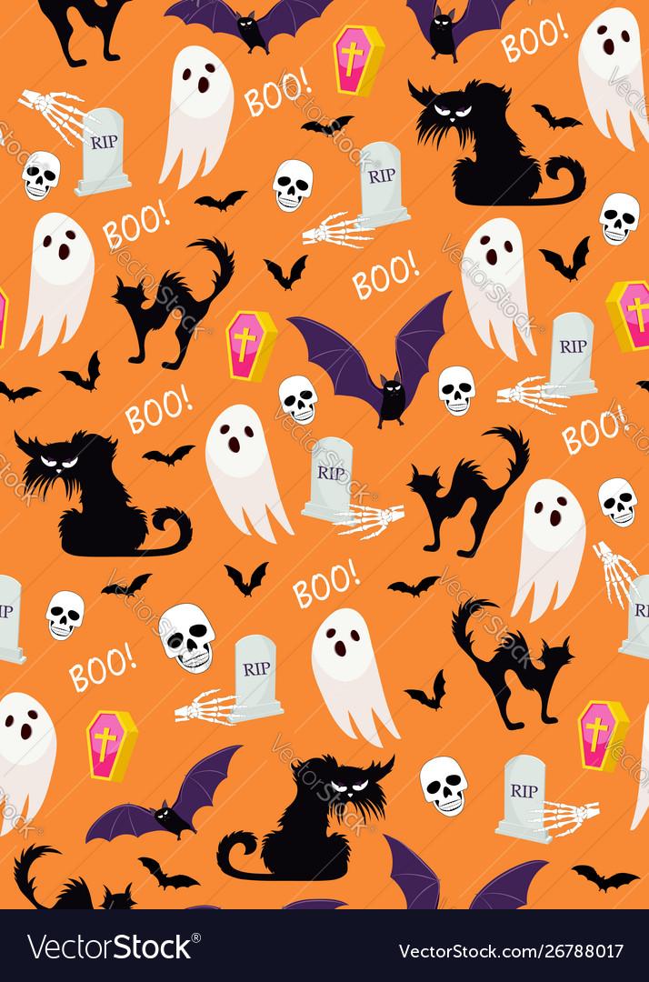 Halloween ghost seamless pattern on orange