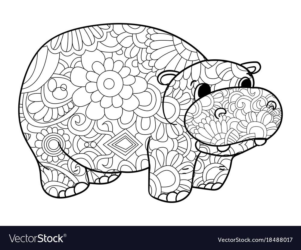 Hippopotamus coloring for adults animal