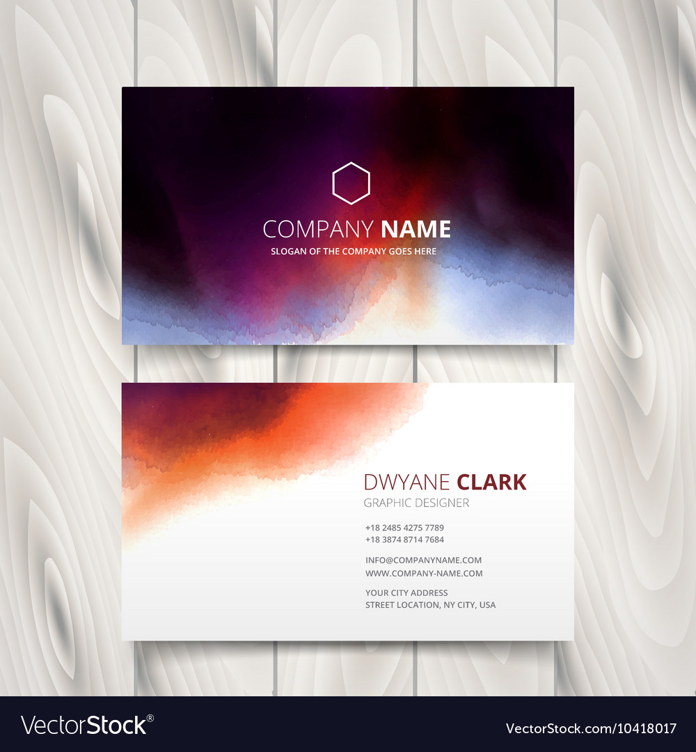 ink watercolor business card design royalty free vector