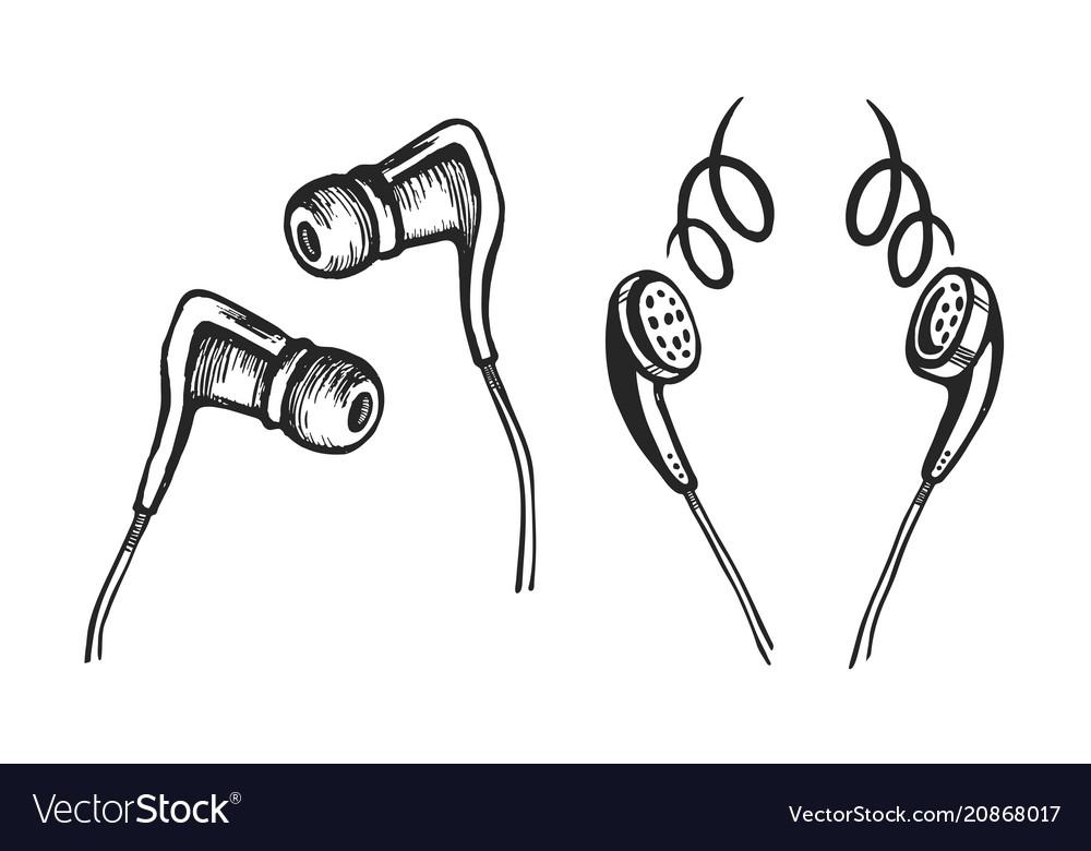 Mobile headphones sketch set