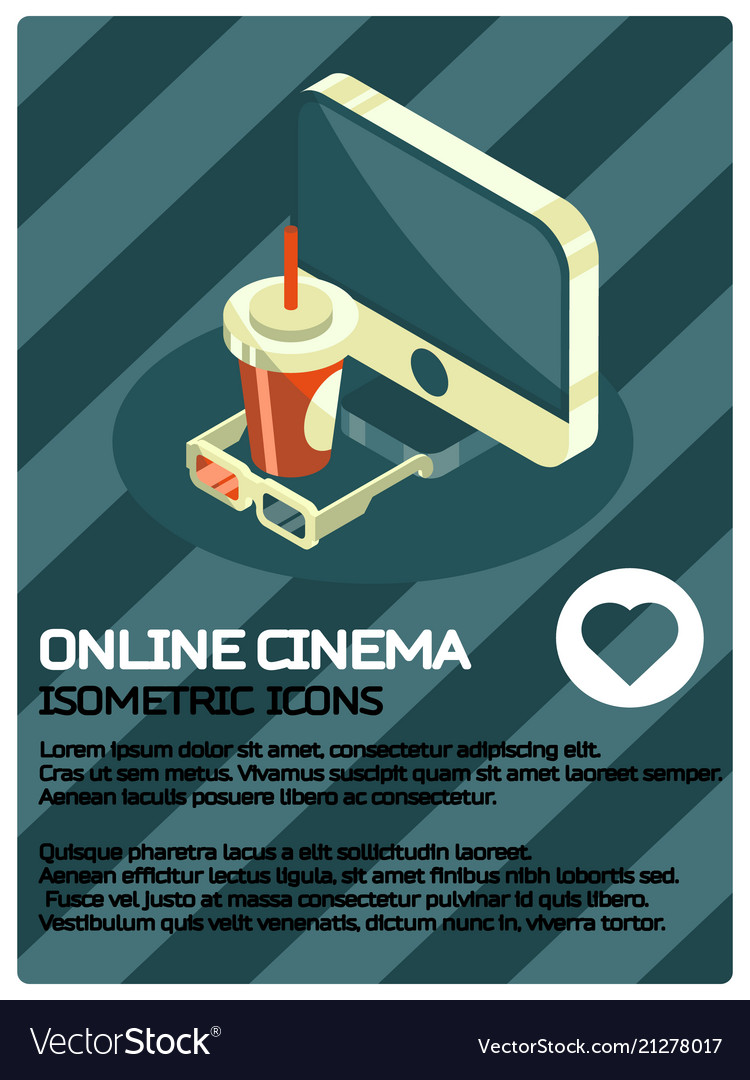 Online cinema color isometric poster