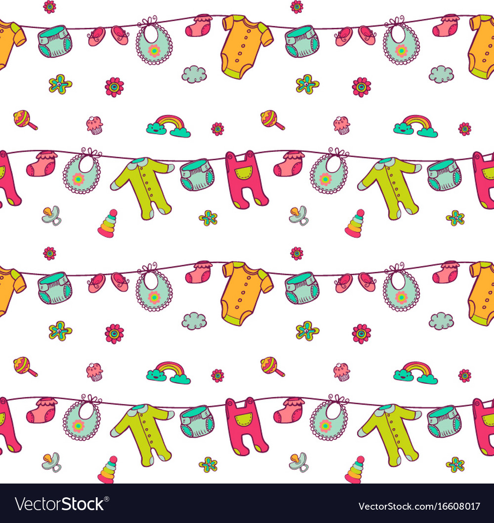 Seamless pattern with cute baby clothes vector image