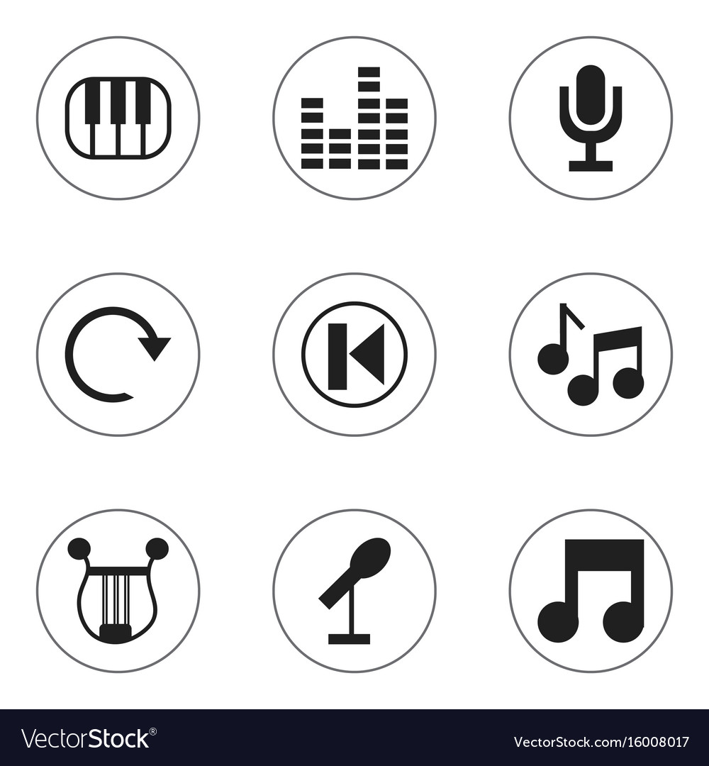 Set of 9 editable sound icons includes symbols Vector Image