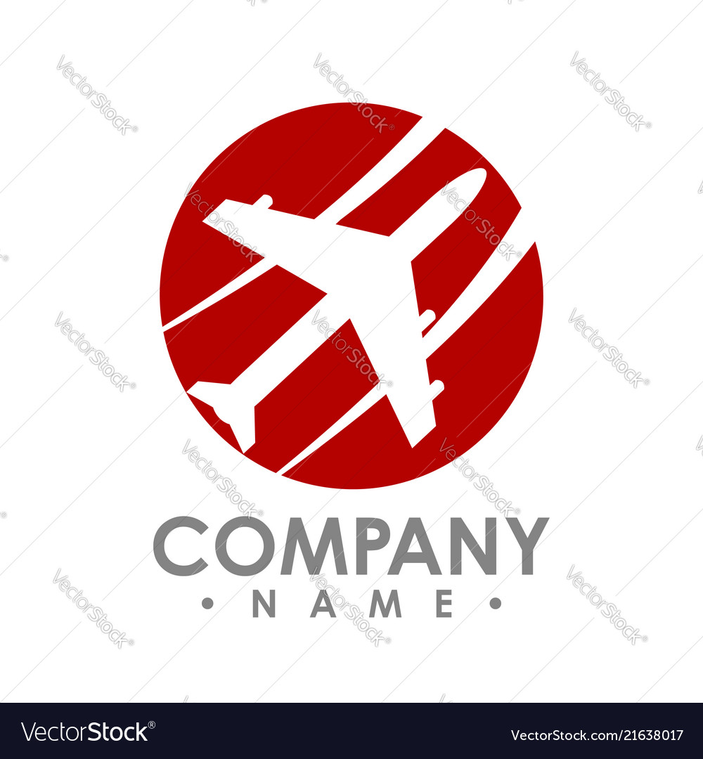 Travel agency logo design idea with airplane in