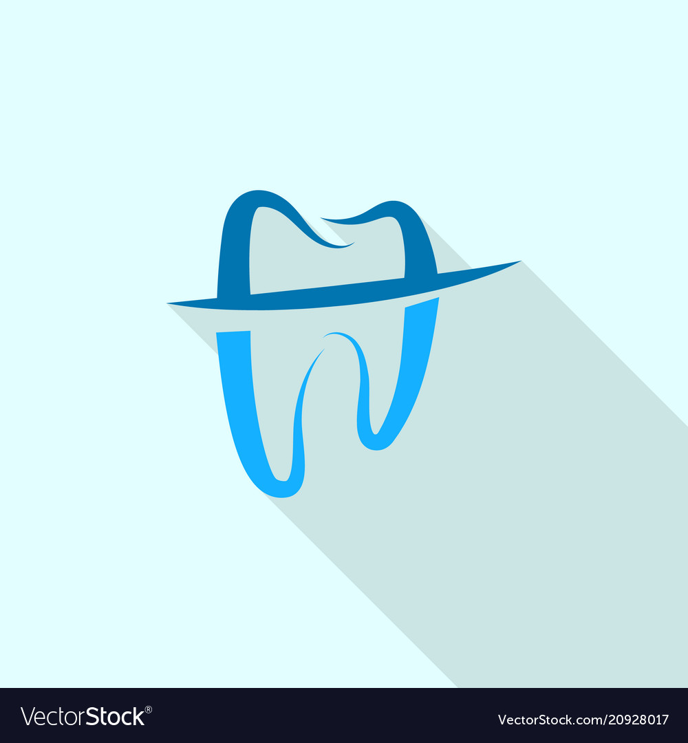 Trendy tooth logo icon flat style