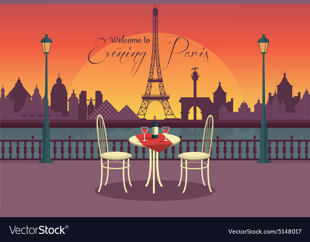 View of evening paris from the cafe