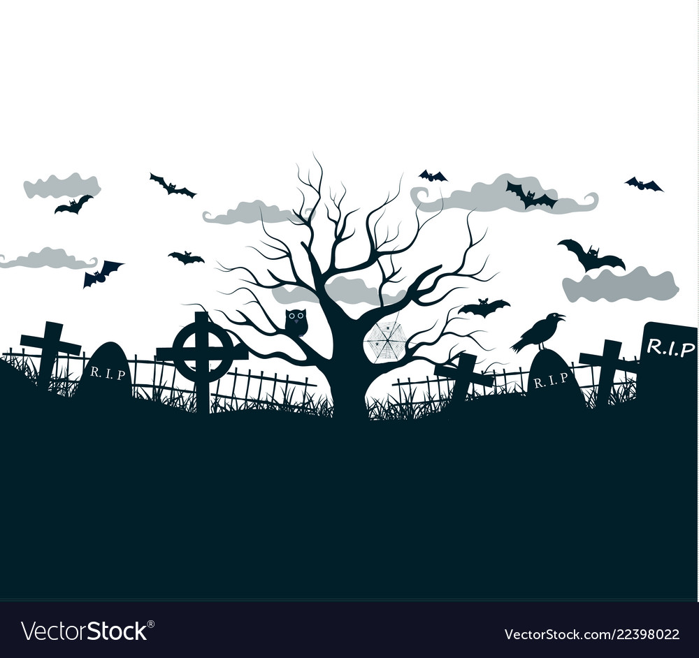 Black and white halloween night background poster