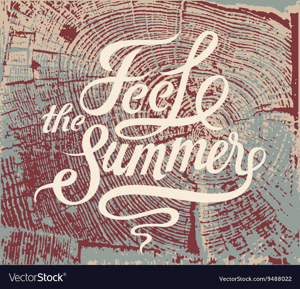 Feel the summer Calligraphic retro grunge poster
