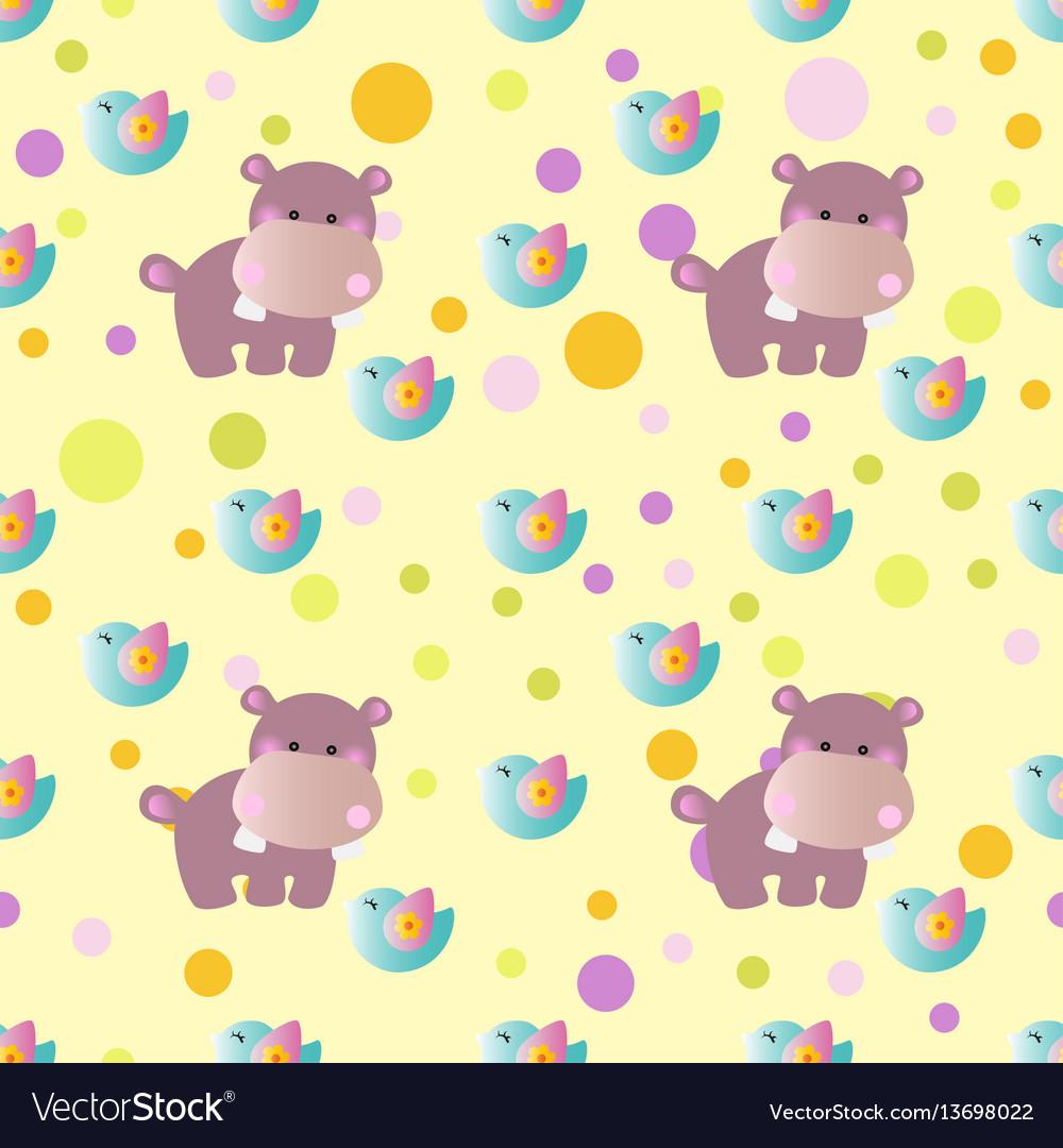 Pattern with cartoon cute toy baby behemoth bird